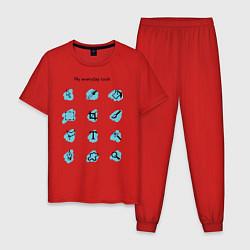Пижама хлопковая мужская Мои ежедневные инструменты цвета красный — фото 1