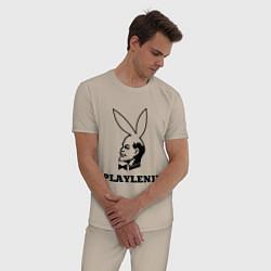 Пижама хлопковая мужская PlayLenin цвета миндальный — фото 2