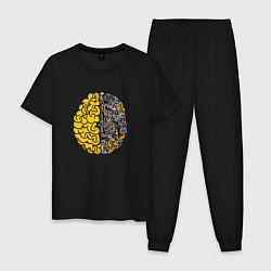 Пижама хлопковая мужская Мозг инженера цвета черный — фото 1