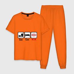 Пижама хлопковая мужская Главное в жизни – еда, сон, KIA цвета оранжевый — фото 1