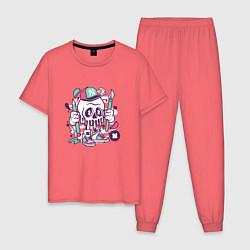 Пижама хлопковая мужская Уличный художник цвета коралловый — фото 1