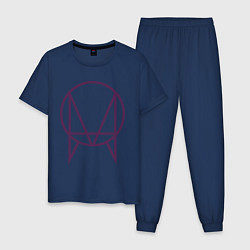 Пижама хлопковая мужская Skrillex Symbol цвета тёмно-синий — фото 1