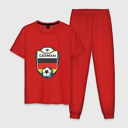 Пижама хлопковая мужская German Soccer цвета красный — фото 1