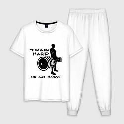 Пижама хлопковая мужская Train hard or go home цвета белый — фото 1