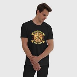 Пижама хлопковая мужская Мир, Любовь и Пицца цвета черный — фото 2