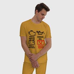 Пижама хлопковая мужская Check Pants цвета горчичный — фото 2