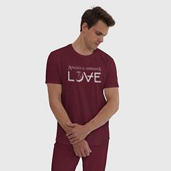 Пижама хлопковая мужская Love AVA цвета меланж-бордовый — фото 2