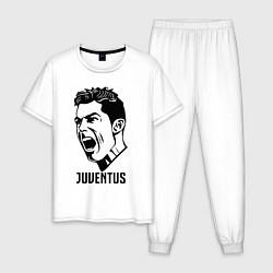 Пижама хлопковая мужская Juve Ronaldo цвета белый — фото 1