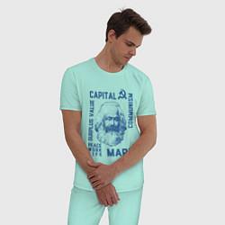Пижама хлопковая мужская Marx: Capital цвета мятный — фото 2