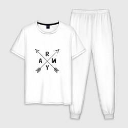 Пижама хлопковая мужская BTS ARMY цвета белый — фото 1