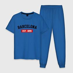 Пижама хлопковая мужская FC Barcelona Est. 1899 цвета синий — фото 1