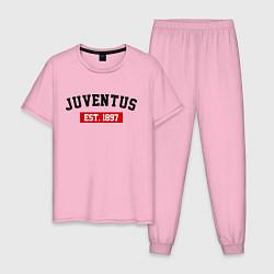 Пижама хлопковая мужская FC Juventus Est. 1897 цвета светло-розовый — фото 1