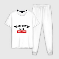 Пижама хлопковая мужская FC Manchester City Est. 1880 цвета белый — фото 1