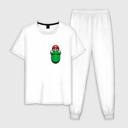 Пижама хлопковая мужская Марио в кармане цвета белый — фото 1