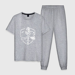Пижама хлопковая мужская Темный рыцарь цвета меланж — фото 1