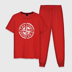 Пижама хлопковая мужская Taknado Stone Island цвета красный — фото 1