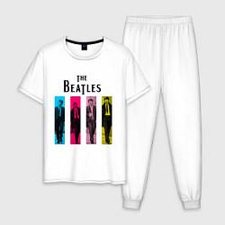 Пижама хлопковая мужская Walking Beatles цвета белый — фото 1