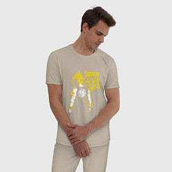 Пижама хлопковая мужская Super Saiyan God: Yellow цвета миндальный — фото 2