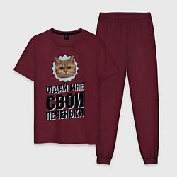 Пижама хлопковая мужская Отдай мне свои печеньки цвета меланж-бордовый — фото 1