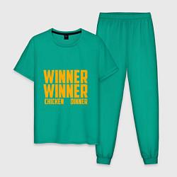 Пижама хлопковая мужская PUBG: Chiken Dinner цвета зеленый — фото 1