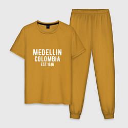 Пижама хлопковая мужская Medellin est. 1616 цвета горчичный — фото 1