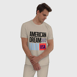 Пижама хлопковая мужская American Dream цвета миндальный — фото 2