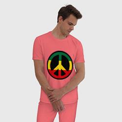 Пижама хлопковая мужская Peace Symbol цвета коралловый — фото 2