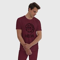 Пижама хлопковая мужская Heda цвета меланж-бордовый — фото 2