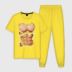 Пижама хлопковая мужская Идеальный пресс цвета желтый — фото 1