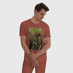 Пижама хлопковая мужская Ярость хищника цвета кирпичный — фото 2