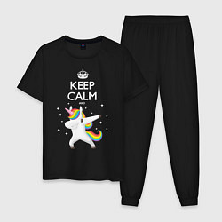 Пижама хлопковая мужская Keep Calm & Dab Unicorn цвета черный — фото 1