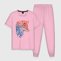 Пижама хлопковая мужская Пестрая лисица цвета светло-розовый — фото 1