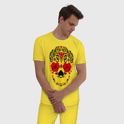 Пижама хлопковая мужская Flower Skull цвета желтый — фото 2