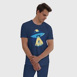 Пижама хлопковая мужская Пришельцы цвета тёмно-синий — фото 2