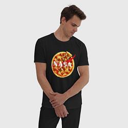 Пижама хлопковая мужская NASA: Pizza цвета черный — фото 2