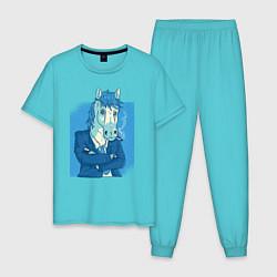 Пижама хлопковая мужская Лошадь-бизнесмен цвета бирюзовый — фото 1