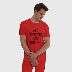 Пижама хлопковая мужская All monsters are human цвета красный — фото 2