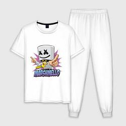 Пижама хлопковая мужская Marshmello Music цвета белый — фото 1