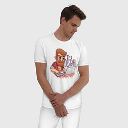 Пижама хлопковая мужская I'm a Designer цвета белый — фото 2