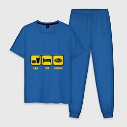 Пижама хлопковая мужская Еда, сон и Subaru цвета синий — фото 1