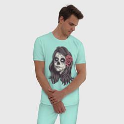 Пижама хлопковая мужская Mexican Girl цвета мятный — фото 2