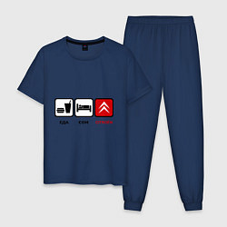 Пижама хлопковая мужская Еда, сон и Citroen цвета тёмно-синий — фото 1