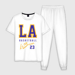 Пижама хлопковая мужская Lebron 23: Los Angeles цвета белый — фото 1
