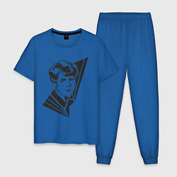 Пижама хлопковая мужская Юный Есенин цвета синий — фото 1