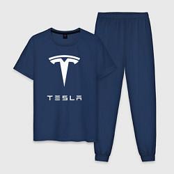 Пижама хлопковая мужская TESLA Mobile цвета тёмно-синий — фото 1