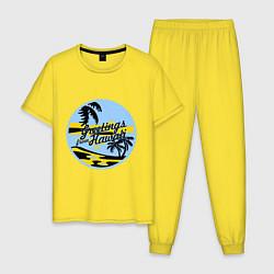 Пижама хлопковая мужская Greetings from Hawaii цвета желтый — фото 1