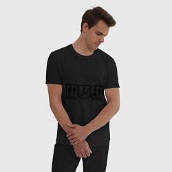 Пижама хлопковая мужская Плати, играй, конец игры цвета черный — фото 2
