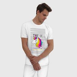 Пижама хлопковая мужская Радуга Единорога цвета белый — фото 2