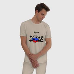Пижама хлопковая мужская Russia цвета миндальный — фото 2