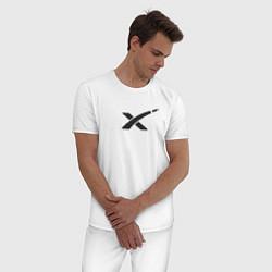 Пижама хлопковая мужская Space X Запуск Falcon Heavy цвета белый — фото 2